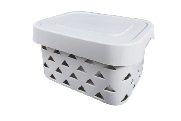 Blue Canyon Pyramids Storage Box With Lid - Light Grey